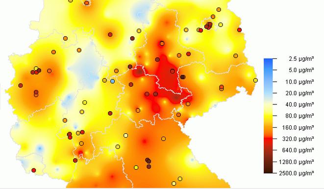 Grafik: PM10-Stundenwert für 01:00 Uhr am 01.01.2017, Quelle: Bundesumweltamt