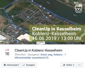 Abbildung: Foto des Facebook-Events zum CleanUp Koblenz-Kesselheim