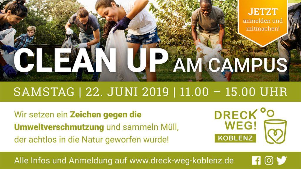 Foto: Hinweis auf Cleanup am Campus der Univeristät Koblenz