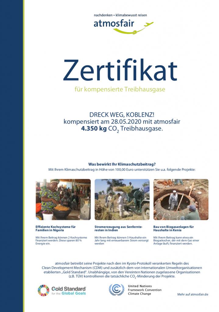 Abbildung: Zertifikat über CO2-Kompensation mit Atmosfair