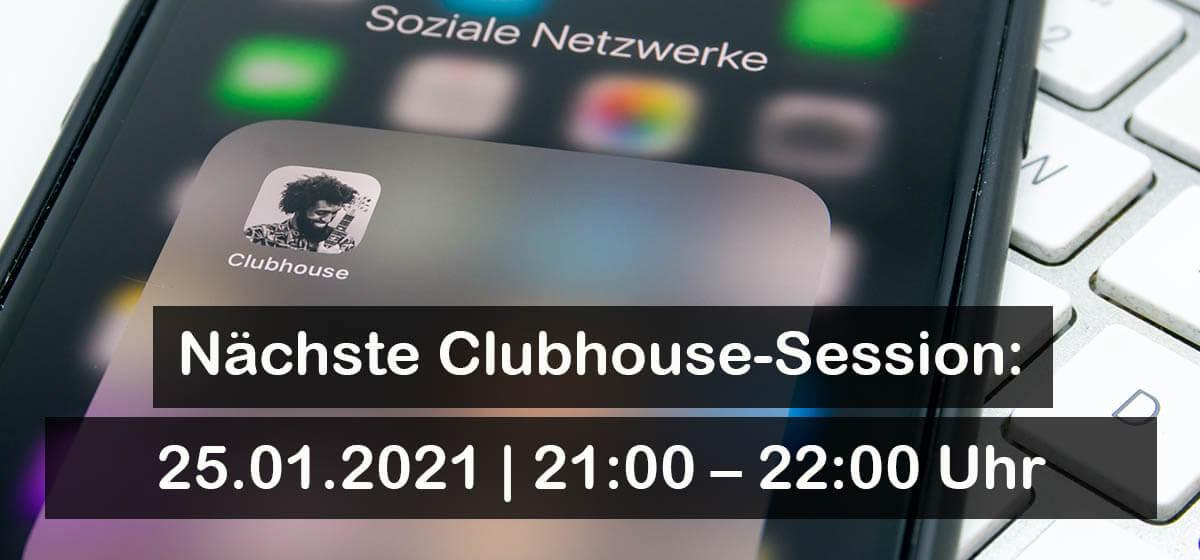 Abbildung: Einladung zur Session auf Clubhouse, Thema: Umweltschutz